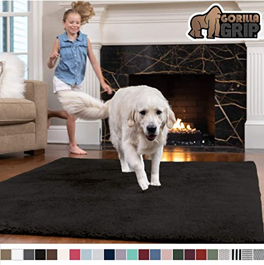 Hot Pink 2 x 3 GORILLA GRIP Original Faux-Chinchilla Nursery Area Rug, Modern Rugs for Floor Luxury Shag Carpets for Home Bed//Living Room Super Soft /& Cozy High Pile Machine Washable Carpet
