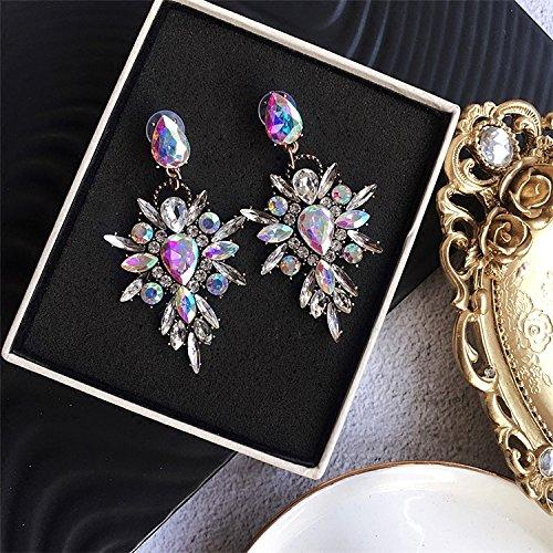 usongs Fan exaggerated color gemstone diamond necklace pendant Western style sexy nightclub tide big earrings wild (Gems Western Pendant)