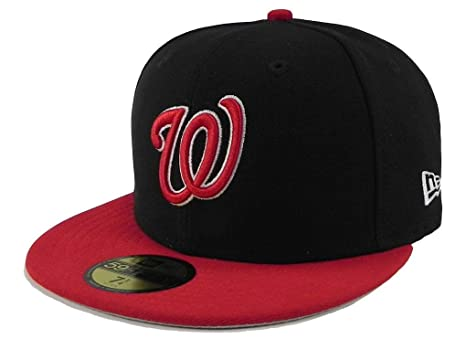huge discount e3ed0 8b0a7 Image Unavailable. Image not available for. Color  New Era 59fifty Fitted Hat  Washington Nationals MLBBasic 2Tone Men s Cap ...