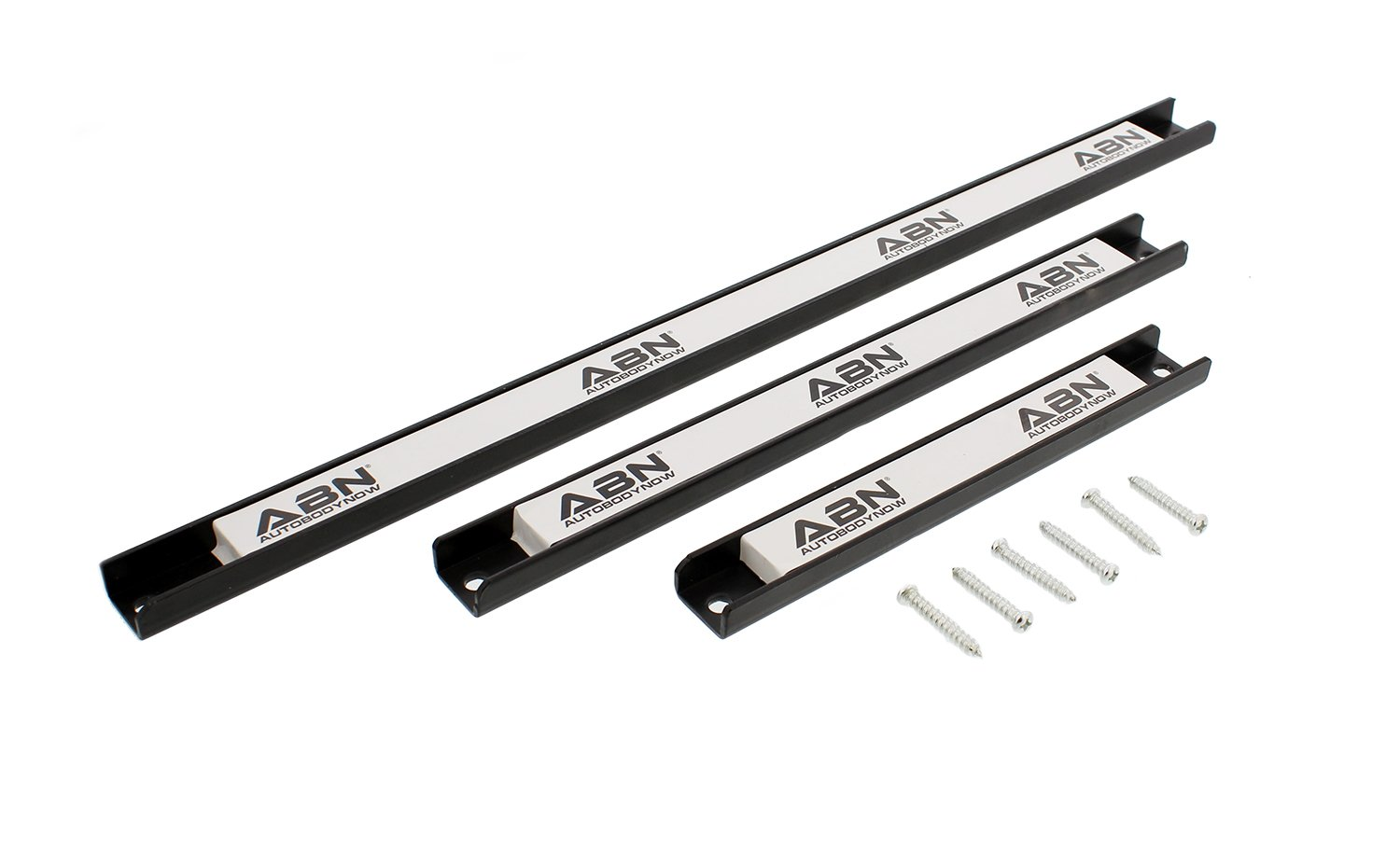 "ABN Magnetic Tool Holder 3-Piece Set of 8"", 12"", 18"" Inch Strip Racks with Mounting Screws – For Garage and Workshop"