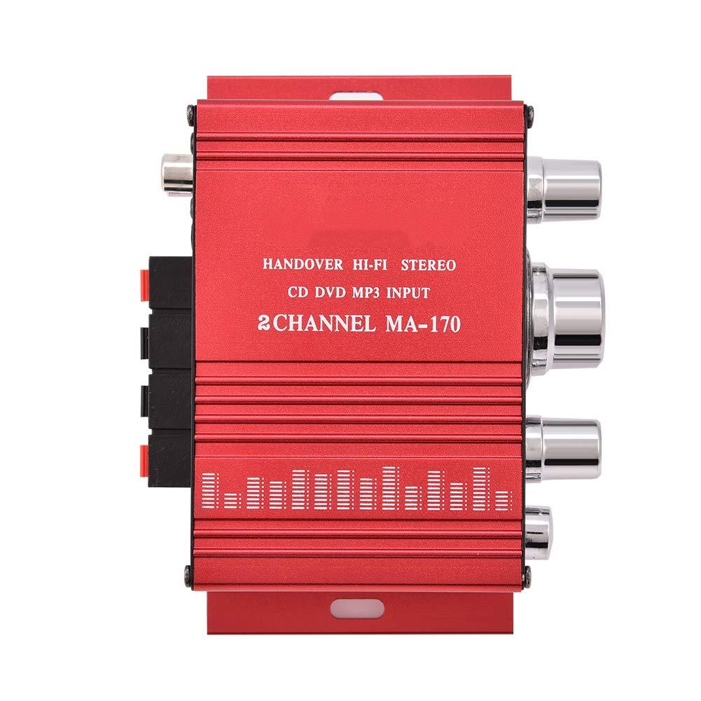 Zweikanal Mini Audio Verst/ärker Tragbarer Power HiFi Stereo Bass Audio Leistungsverst/ärker
