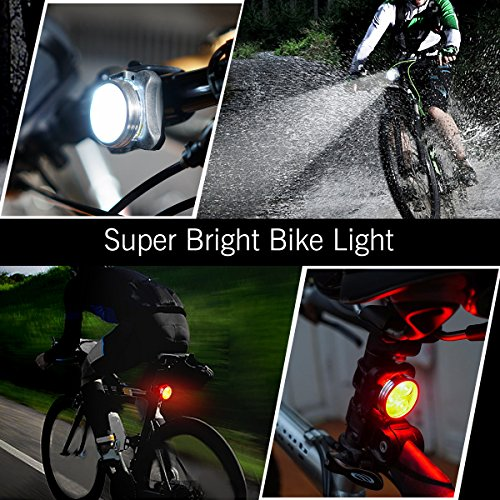 SOKLIT USB Rechargeable Bike Light Front Rear Waterproof IPX4 Super Bright Bicycle LED Light Set 120 Lumen 650mah Lithium Battery, 4 Light Mode Options, Including 6 Strap 2 USB Cables by SOKLIT (Image #7)