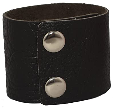 c1c7389b3f3 AZYOUNG Men's Black Brown White 5cm Wide Leather Bracelet Two Rows of  Buckles Wristband Cuff Bangle