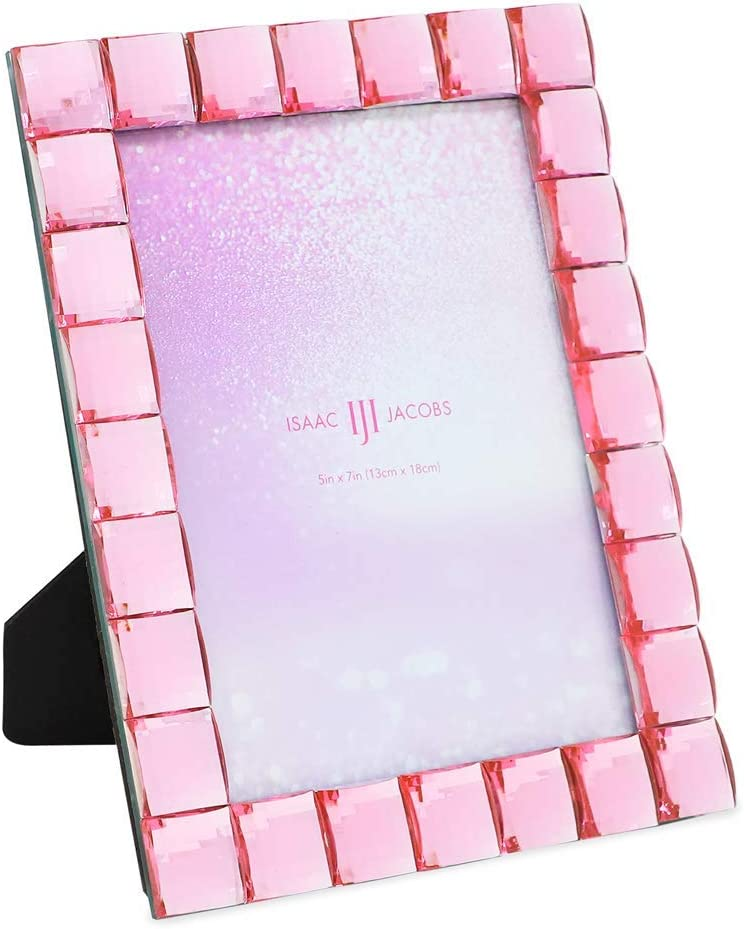 Isaac Jacobs Decorative Sparkling Light Pink Jewel Picture Frame, Photo Display & Home Décor (5x7, Light Pink)