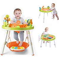 3-in-1 Jump Gym for Baby - 360-degree Rotating Seat 3-Stage Interactive Activity Center W/ 5 Fun Toys & Music, Washable Seat Cushion by Machine Great for 4,6,9,12,24,36 Months Toddler (Multicolour)