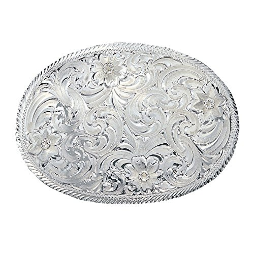 Montana Silversmith Oval Silver Engraved Western Belt Buckle Etched Trim - 1840 (Silver Buckle)