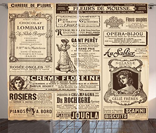 - Ambesonne Paris Curtains, Vintage Old Historic Newspaper Journal French Paper Lettering Art, Living Room Bedroom Window Drapes 2 Panel Set, 108 W X 84 L Inches, Light Brown Caramel and White