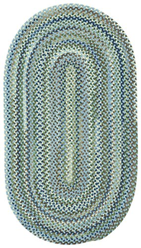 Capel Rugs Manchester Oval Braided Area Rug, 4 x 6, Light Blue ()