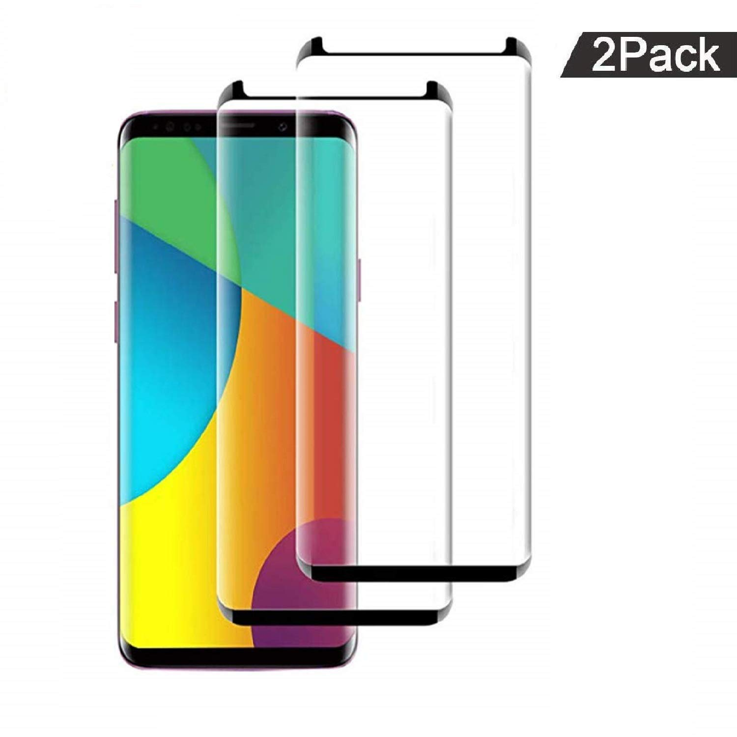 (2 Pack) Galaxy S9 Screen Protector 3D Curved Glass, [Case Friendly] [Bubble Free] Ultra Thin HD Clear 9H Hardness Anti-Scratch Crystal Clear Screen Protector for Samsung Galaxy S9 (NOT S9 Plus) by BALABEAN