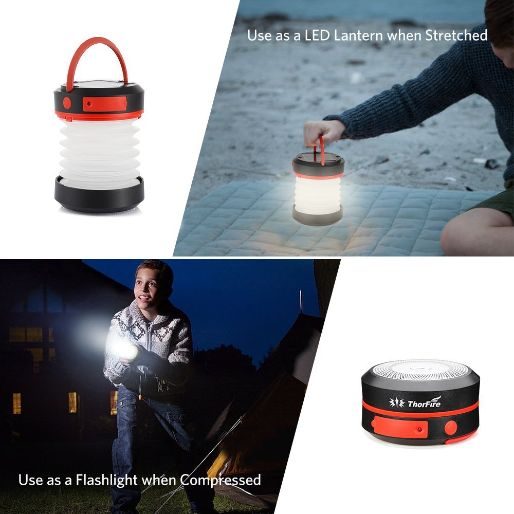 Thorfire Camping Lantern USB Rechargeable Solar Powered Emergency Light LED Camping Tent Light Lamp Portable Flashlight Safe Light for Camping Hiking Jogging Night Walking -CL04 by Thorfire (Image #2)