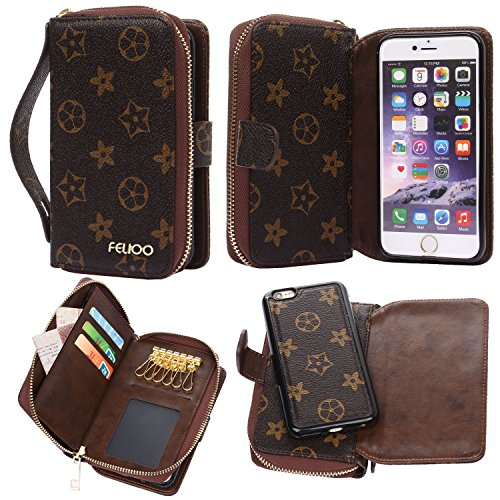 iPhone 6 Plus Case,GX-LV iPhone 6s Plus Case Luxury 2 in1 Design Multi-functional Leather Wallet Card Slots Case Cover Handbag with Keychains for iPhone 6 Plus/iPhone 6s -