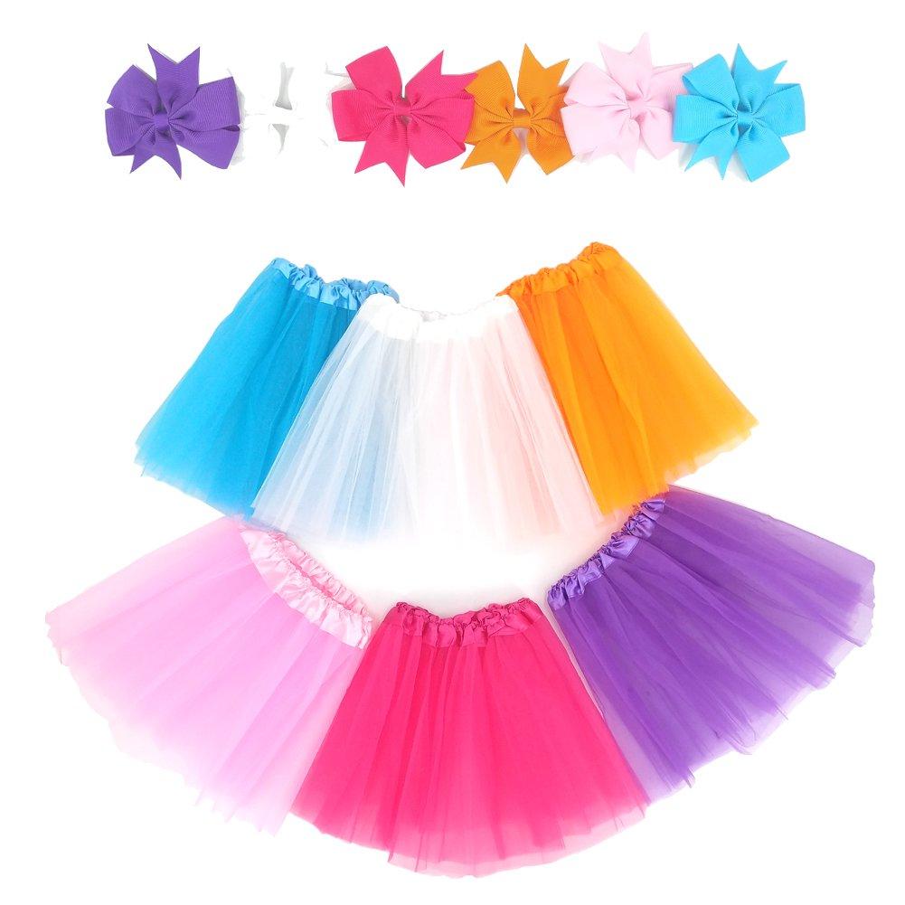 Loveyal 6Pcs Tutus for Girls Princess Ballet Tulle Skirt Dress Up Costumes(2-8T)