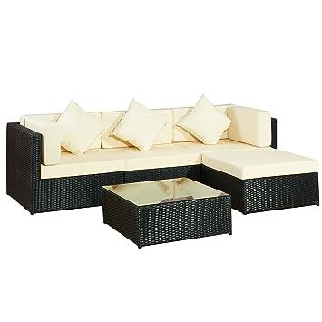 Gartenlounge rattan  Amazon.de: Garten Lounge Moebel Bergen II schwarz-beige aus Stahl ...