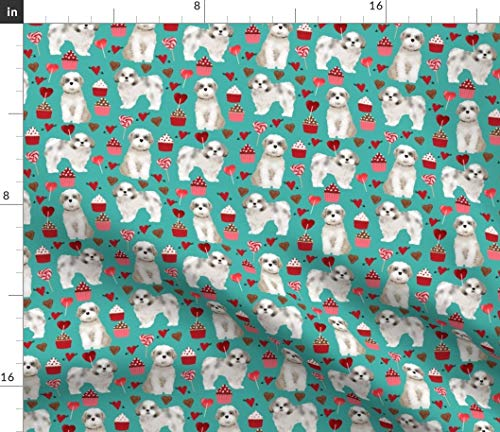 Spoonflower Shih Tzu Fabric - Dog Fabric Valentines Day Valentines Love Toy Dog Toy Breeds Print on Fabric by The Yard - Fleece for Sewing Blankets Loungewear and No-Sew Projects ()