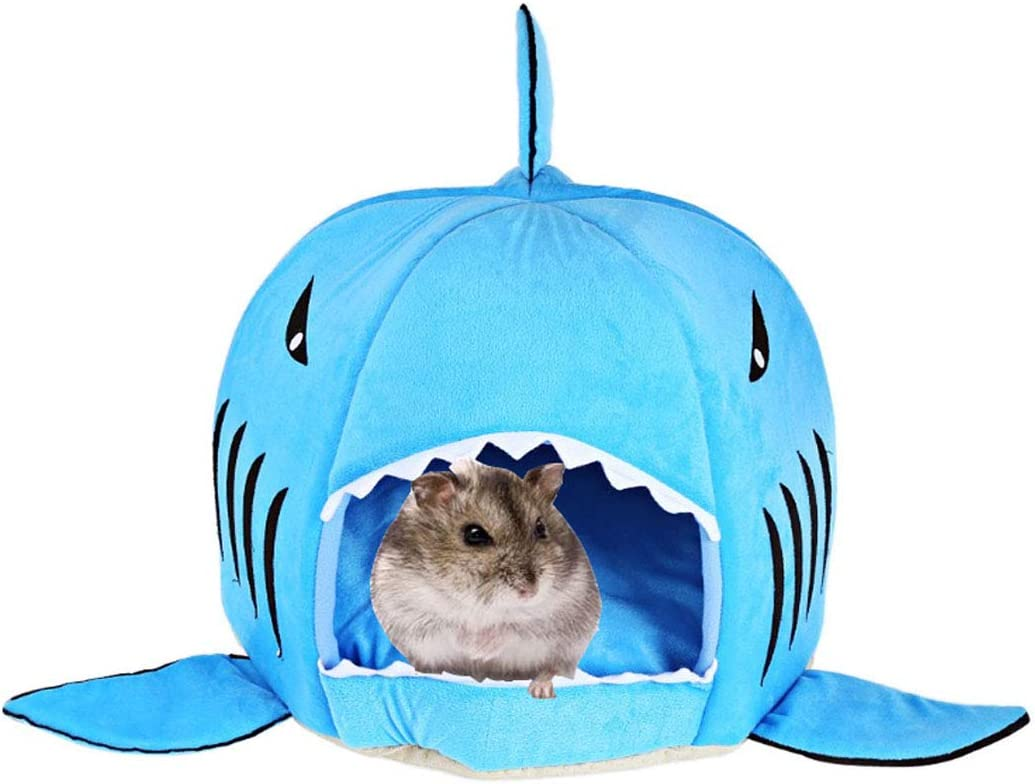 Hamiledyi Hamster Bed House,Winter Warm Shark Hideout Hut Hamster Cage Accessories for Hamster Chinchilla Rabbit Guinea Pig Gerbil Small Animals