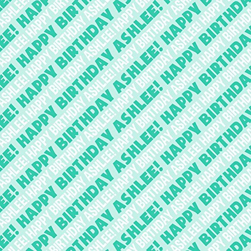 Ashlee Happy Birthday Premium Gift Wrap Wrapping Paper Roll - Teal from Graphics and More