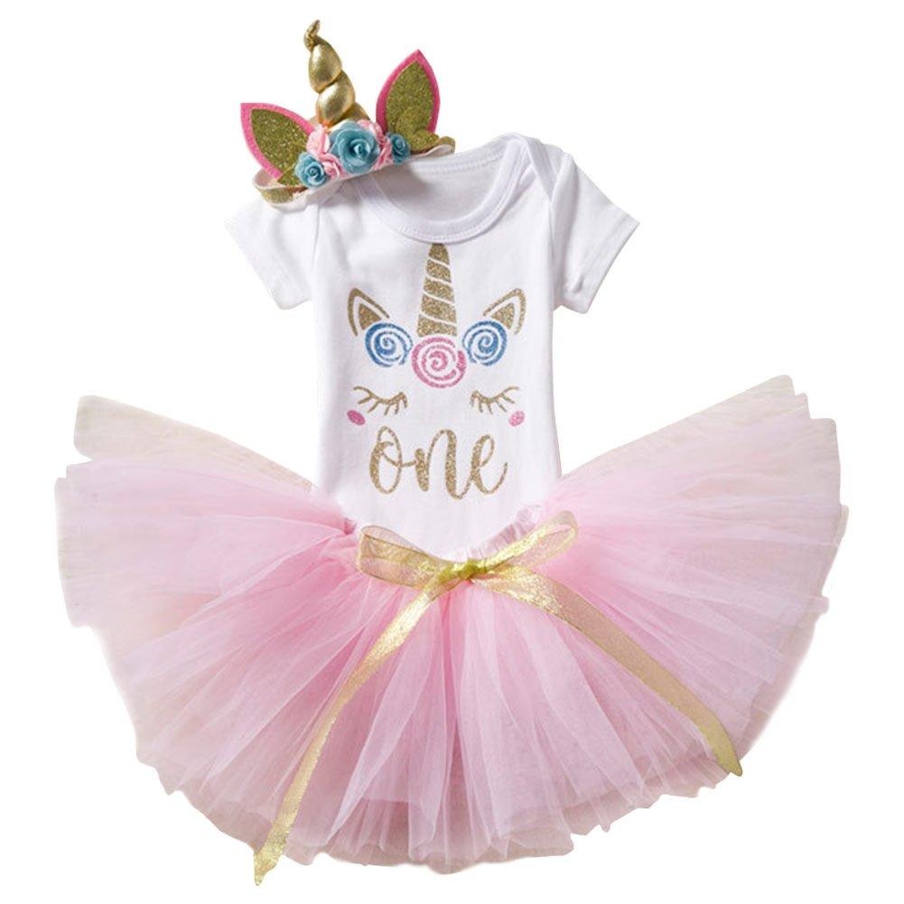 IWEMEK Baby Girls My 1st First Birthday Unicorn Romper Tutu Skirt Dress Outfit