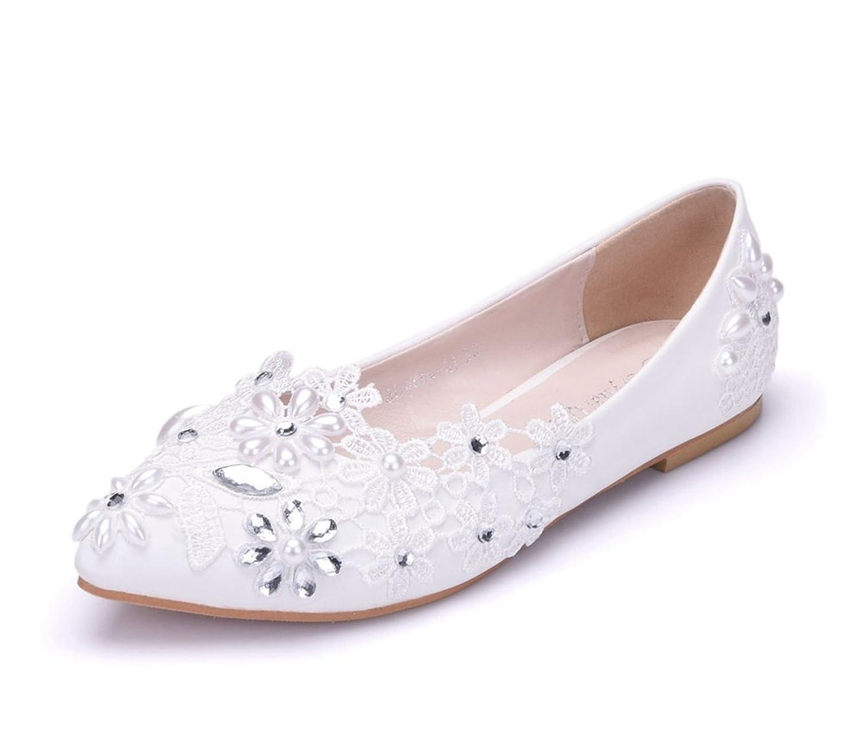 Minishion Womens Rhinestones Flowers Satin Bridal Wedding Flats Fashion Dress Ballet