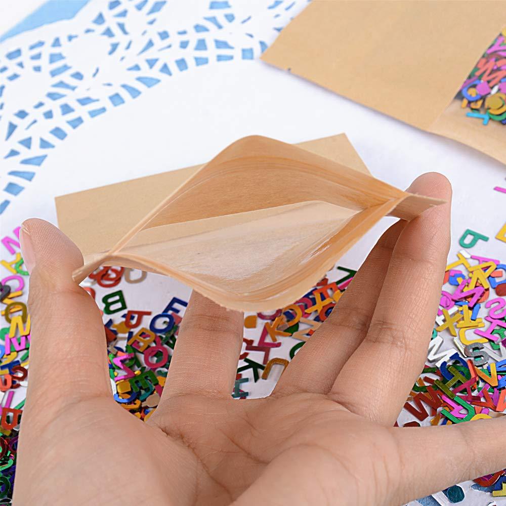 100pz Sacchetti Kraft Carta Bustine Mini Buste Vintage per Semi Caramelle Feste con Chiusura 10 15 cm