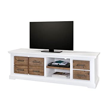 Best Elegant Tv Lowboard Wei Braun Bank Im Massivholz Holz Akazie Massiv Cm  Breit With Tv Bank Cm With Sideboard Wei Cm With Tv Bank Braun