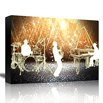 Jazz Band Playing in Front of a Shiny Gold Background - Canvas Art Home Art - 12x18 inches
