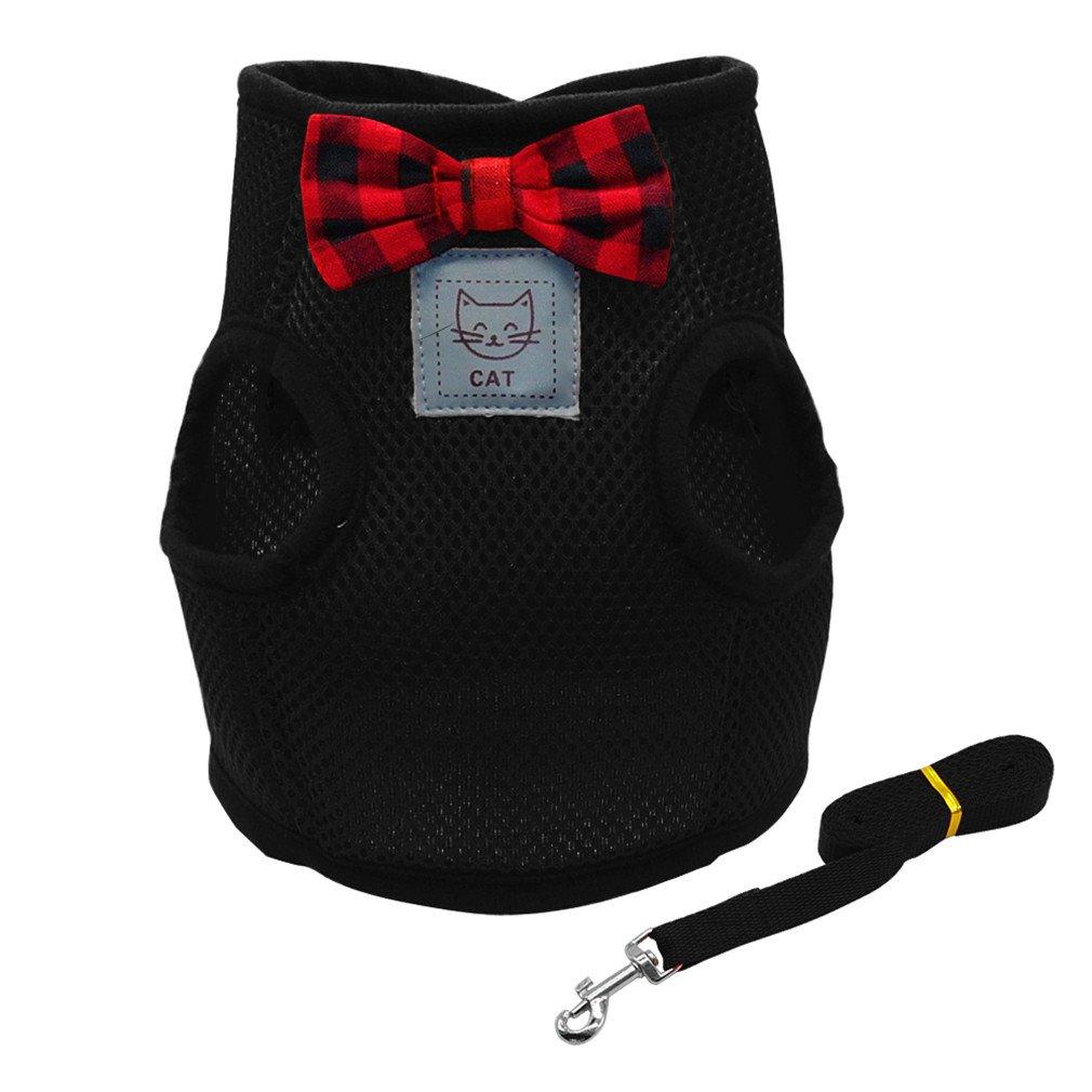 LLOVELYY Cute Small Cat Puppy Harness Leash Set Bowknot Soft Mesh Dog Harness Pet Adjustable Black S