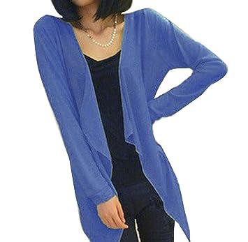Las Mujeres Blusa Verano Mujer Fino y Largo Cardigan Protección Solar Ropa Tops Royal Blue One