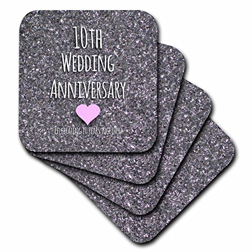 3dRose 10th Wedding Tin Bits Photo Celebrating 10 Years Together Tenth Anniversaries Ten - Soft Coasters, Set of 4 (CST_154442_1) (Tin Gift Anniversary)