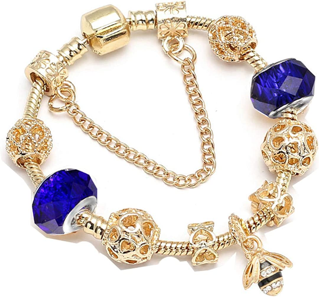 Crystal Bees Gold Color Charm Bracelet For Girl Glass Beads Fine Bracelet For Women DIY Jewelry Gift Blue1 21cm
