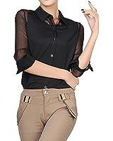 ELLAZHU Damen Stehkragen Chiffon transparent Langarmbluse Shirt GH08