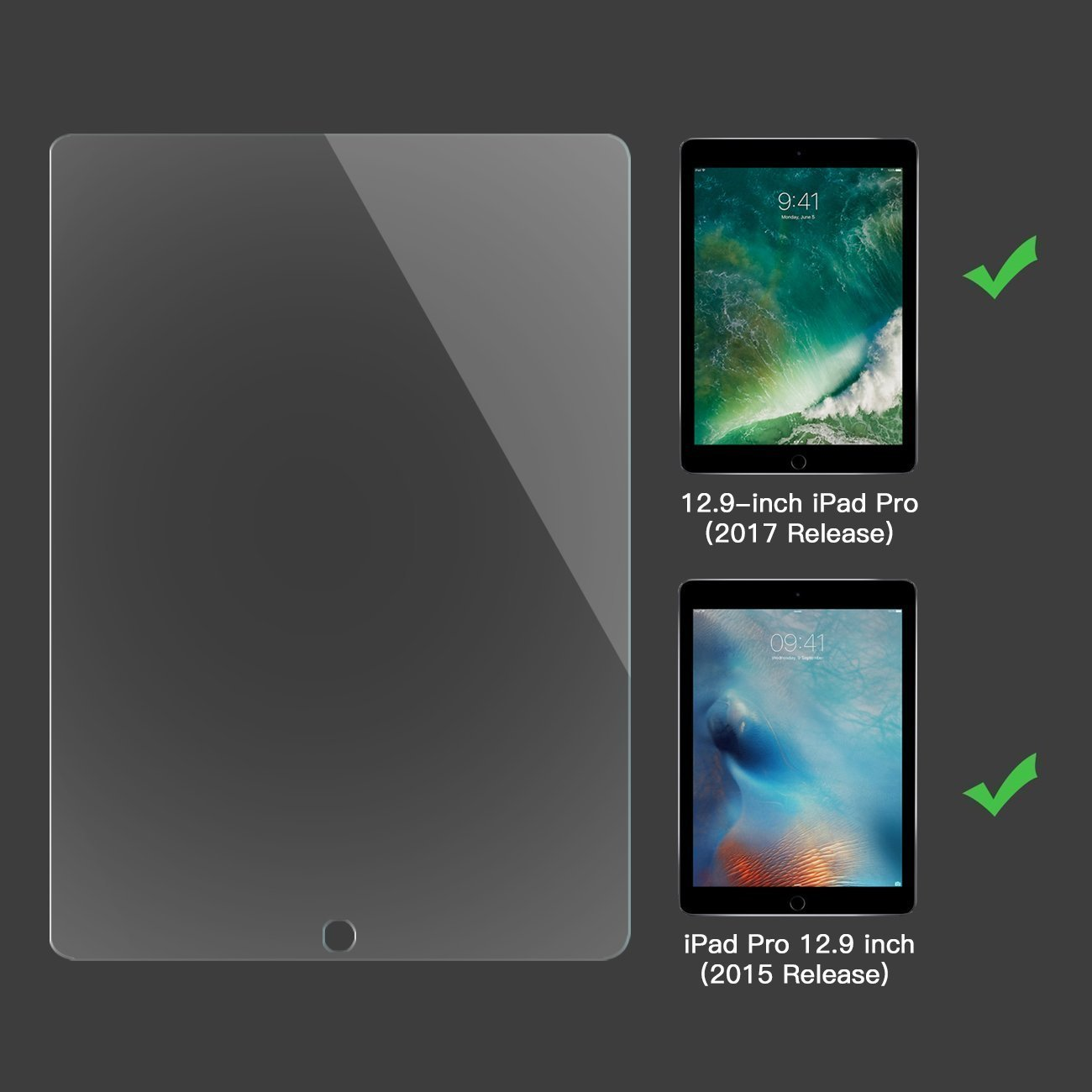 [2 PACK] iPad Pro 12.9 Screen Protector, SPARIN Multi-Touch Compatible / Bubble-Free / Anti-Scratch Tempered Glass Screen Protector For 12.9-Inch iPad Pro (2015, 2017 Release) by SPARIN (Image #2)