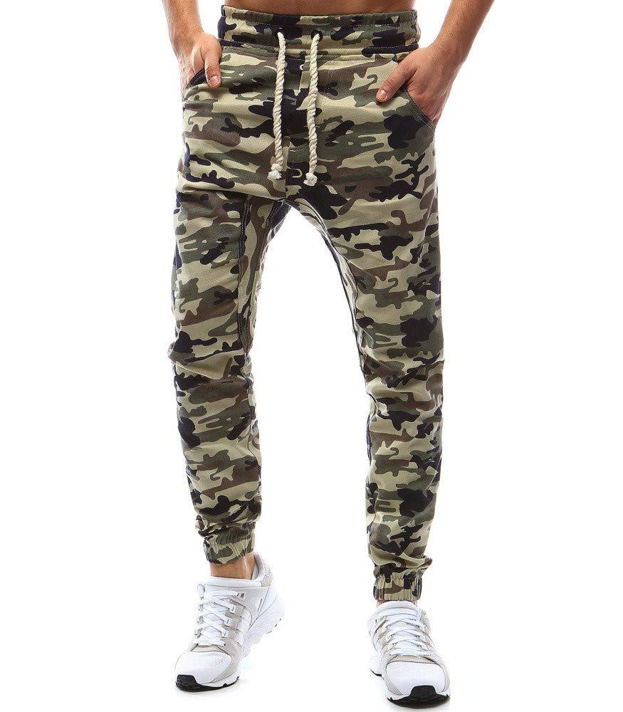 Molyveva Men Camouflage Pencil Pant Pocket Tethers Elastic Belts Casual Trouser