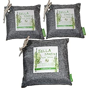 Bella Bambu (10pack) Activated Bamboo Charcoal Bag – 100% Natural Air Freshener, Purifier, Deodorizer, and Odor Absorber for the home, office, car, and more.(10 Small 250 gram bags) - Grey