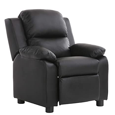 LCH Contemporary PU Leather Kids Recliner with Deluxe Padded Backrest and Flip-up Storage Arms, Mini Little Small Recliner Sofa Chair for Baby Toddler ...