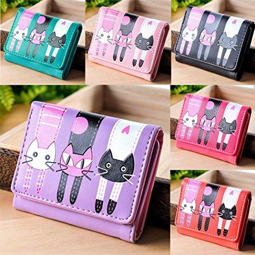 Women Wallet-All4you Damen Trifold Geldbörse Short Coin Geldbörse Multi Card Holder mit Cartoon Lovely Cat Pattern (blau) Lila
