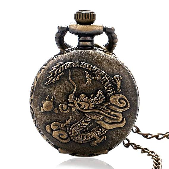Retro Reloj de Bolsillo, Estilo Antiguo China Zodiac Dragon Lucky Analógico Reloj de Bolsillo de Cuarzo, Regalos para Hombre: Amazon.es: Relojes