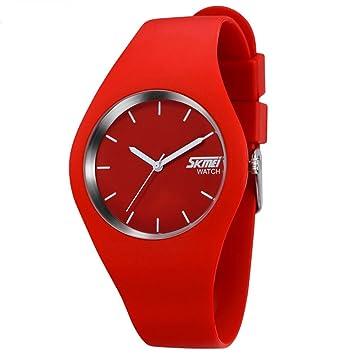 Oumosi Reloj de pulsera para mujer, de silicona y cuarzo, estilo casual, color Rojo: Amazon.es: Hogar