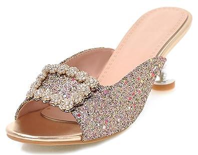 e42a79c3cef5 Easemax Women's Sexy Rhinstones Flower Open Toe Mid Heel Mule Sandals Gold  4 B(M