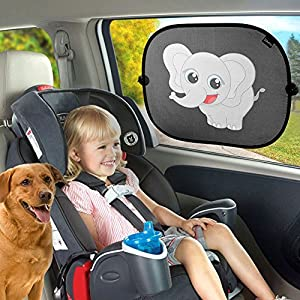 Elephant design Protective Siluno Sun Shade for Car Side Window Car Sun Protector with Suction Cups for Children Baby Adults Roof Window Sun Visor Black UV - With 2 Year