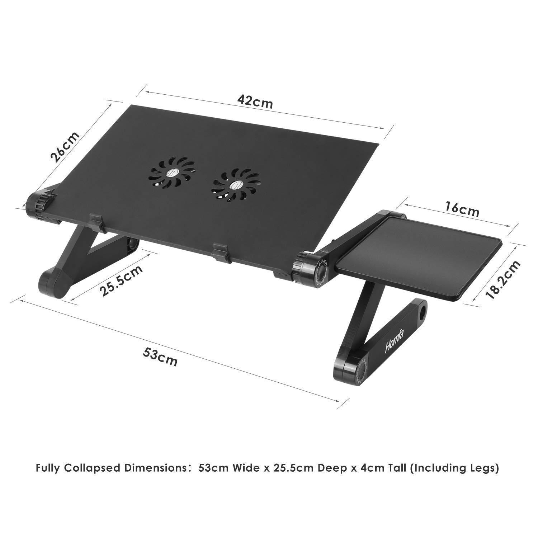 Homfa Soporte para Portátil Mesa para Ordenador Plegable y Ajustable para Cama Sofá con Base de refrigeración y Soporte para Ratón: Amazon.es: Hogar