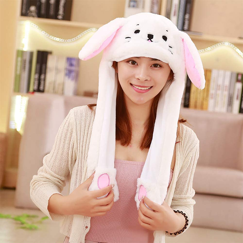 Crazy lin Moving Ear Rabbit Hat Lovely Kitten Earflap Hat Bunny Party Headwear Air Bag Cap-Ears Popping up When Pressing Paws