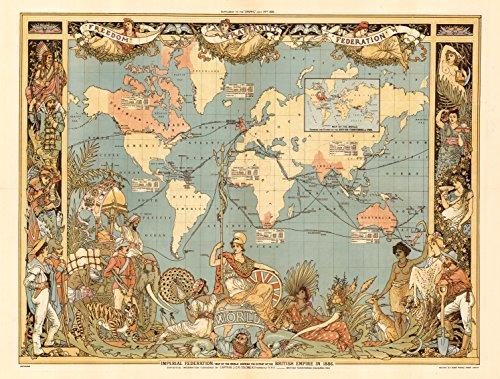 1886 World Map of British Empire Colonial Wall Map - Various Sizes Reprint (British Empire Map)