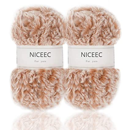 977453e9de Amazon.com  NICEEC 2 Skeins Super Soft Fur Yarn Chunky Fluffy Faux ...