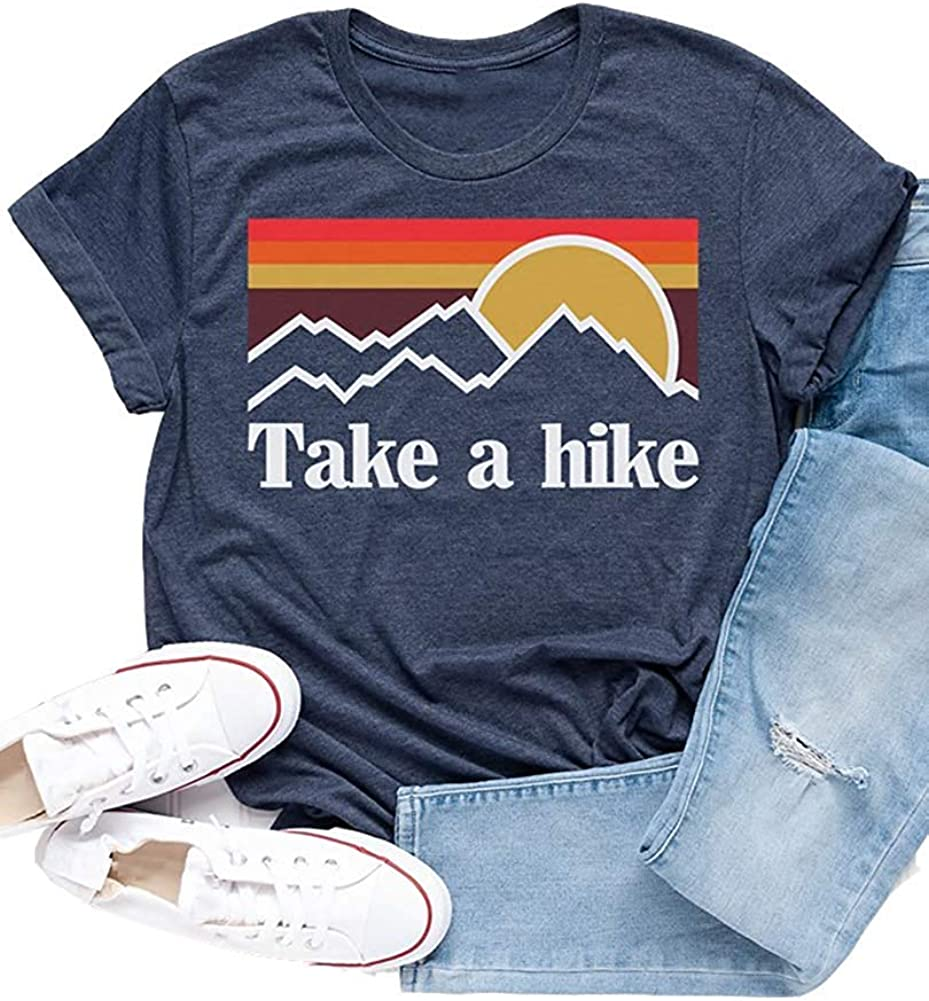 Xiaomomo Womens Take A Hike Printed Short Sleeves T-Shirt Casual Camping Hiking Graphic Tee Tops