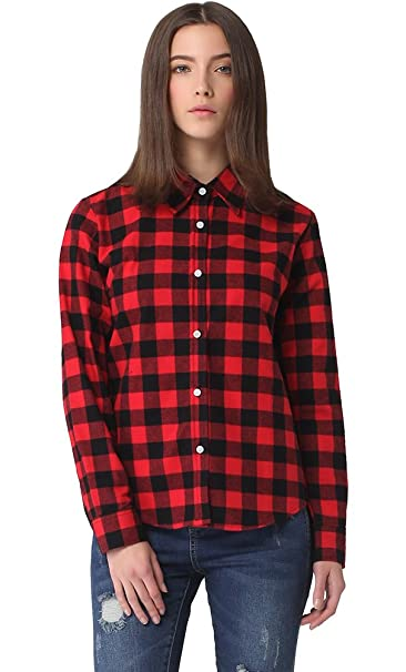 bc612d2c9 Meykiss Women's Long-Sleeve Plaid Flannel Shirt at Amazon Women's Clothing  store: