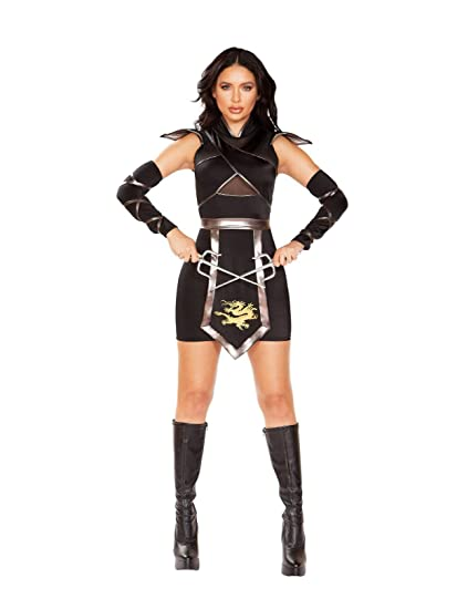 Deluxe Sexy Ninja Warrior Womens Fancy Dress Costume Medium ...