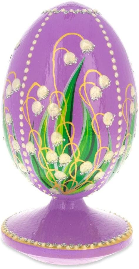 1898 Lilies Of The Valley In Purple Royal Egg Glass Ornament