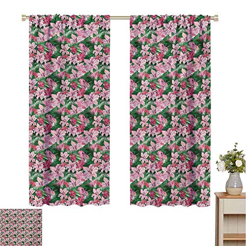 Mozenou Jungle, Decorative Curtains for Living Room, Lush Growth of The Exotic Hawaiian Island Blossoms in Pink Shades Spring in Paradise, Waterproof Window Curtain Multicolor