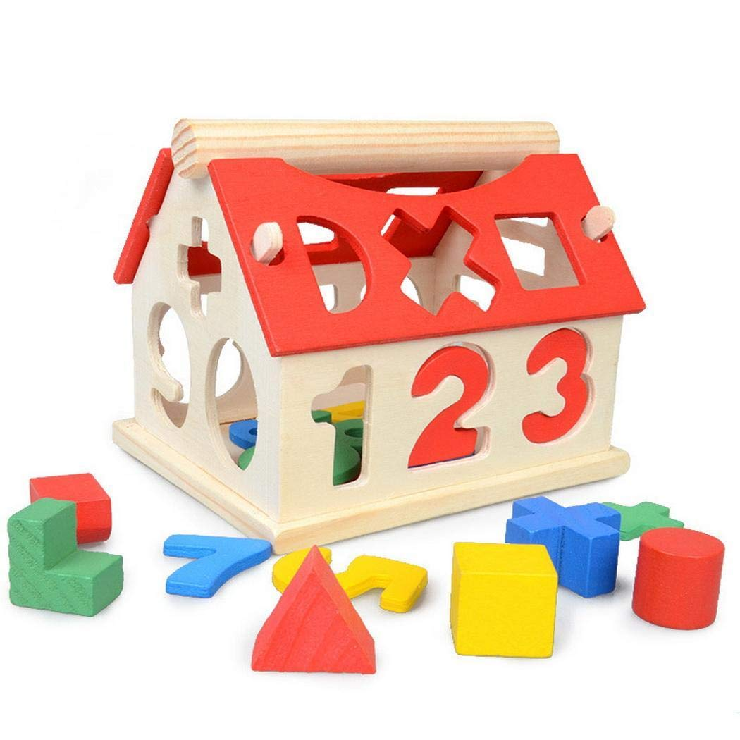 Bifast Kid Educational Learning Numbers Multicolor House Wooden Building Block Toy Blocks