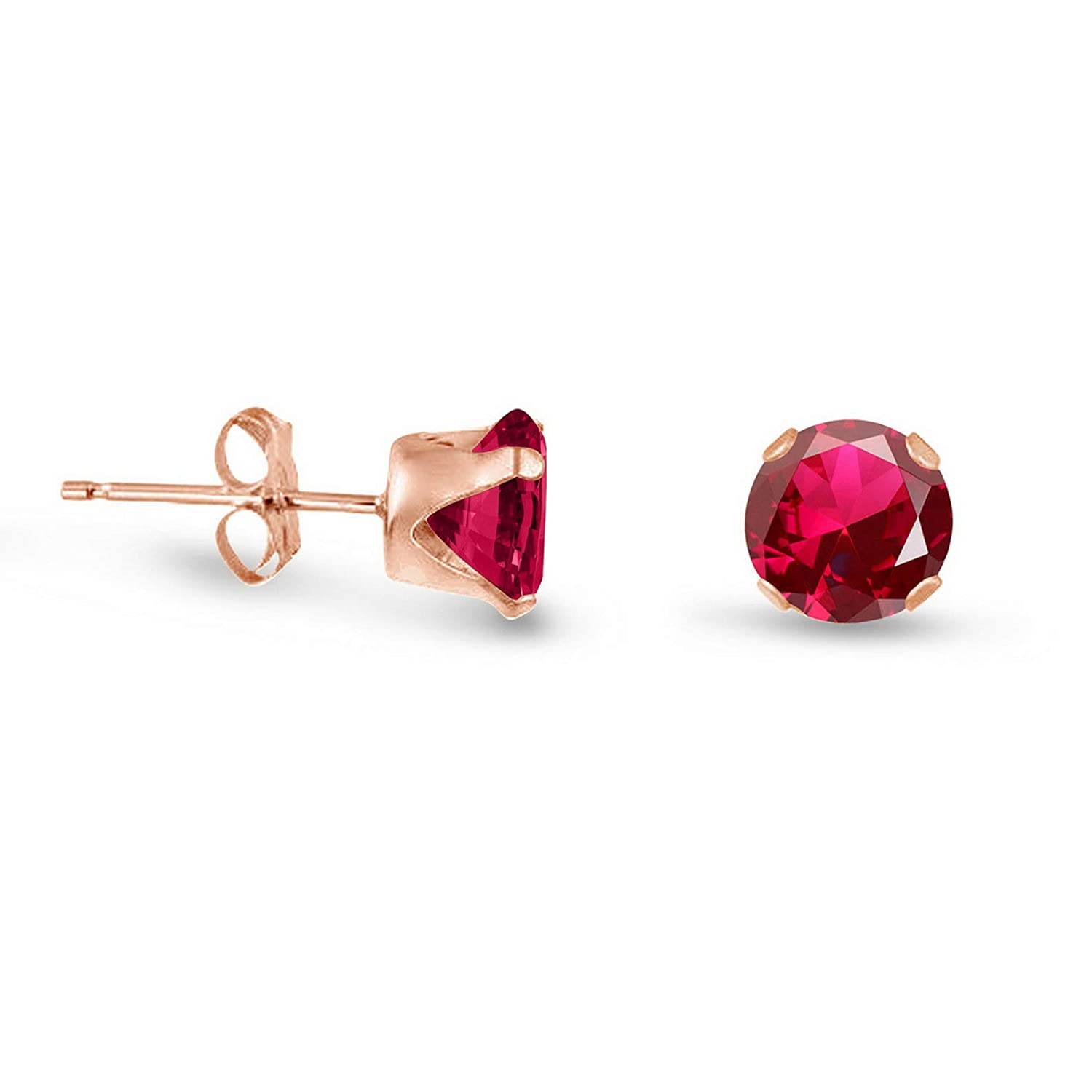 6mm Campton Round Created Ruby Rose Gold Plated Sterling Silver Stud Earrings Choose Size Large Model ERRNGS 14301